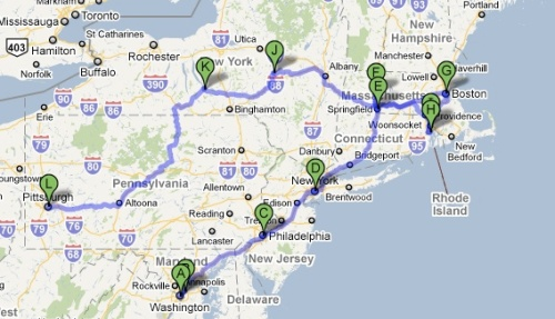 Map of my trip through New England